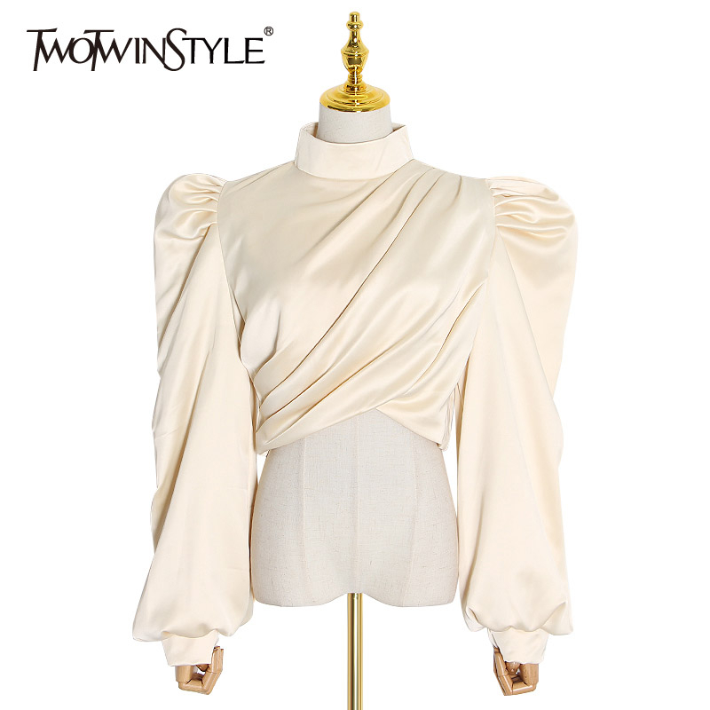 TWOTWINSTYLE Sexy Asymmetrical Blouses Female Turtleneck Lantern Long Sleeve Short Ruched Shirts Women Fashion Clothing 2020 New
