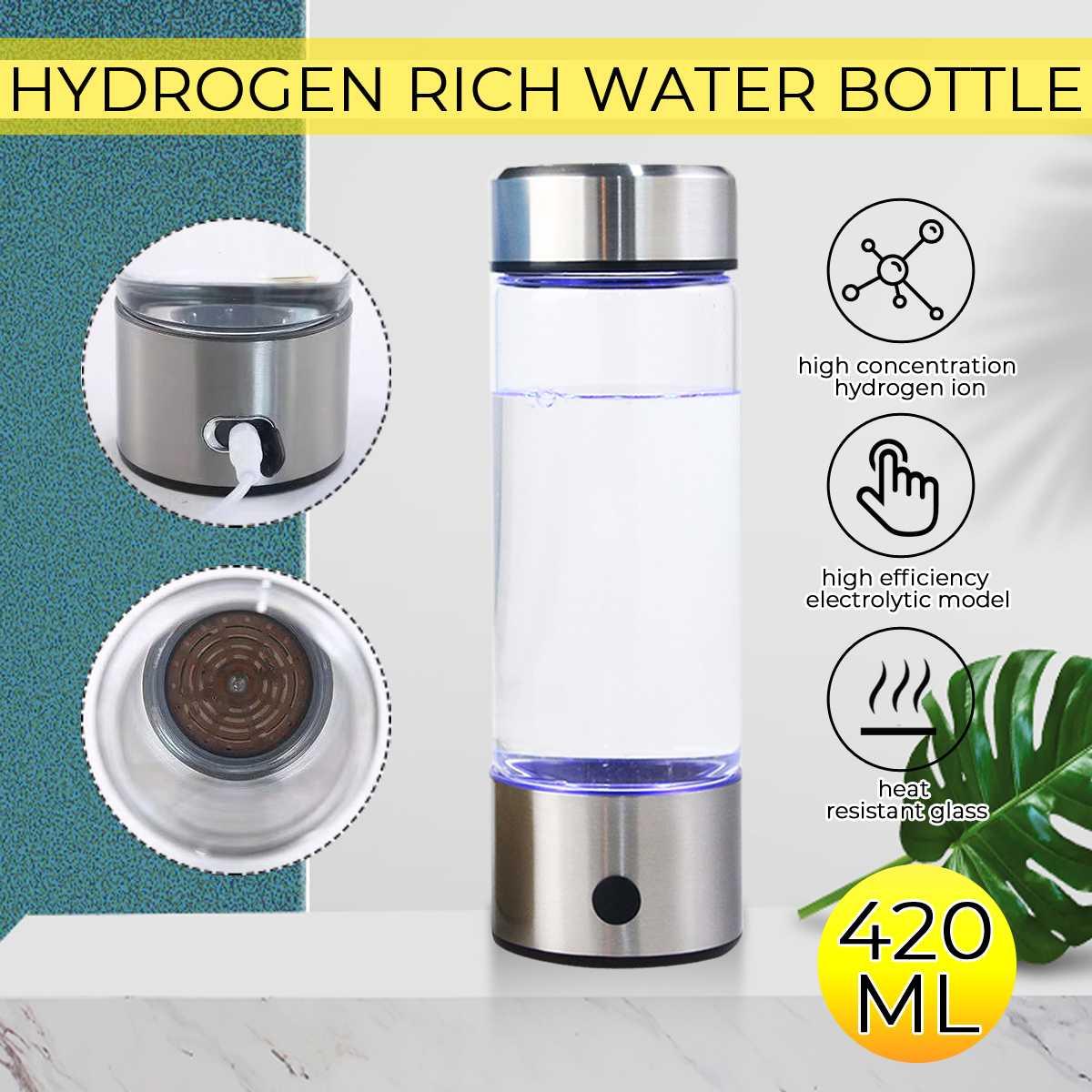 420ML Portable Hydrogens Water Generator Alkaline Maker USB Rechargeable For Pure Hydrogen-rich Water Bottle Filter Electrolysis