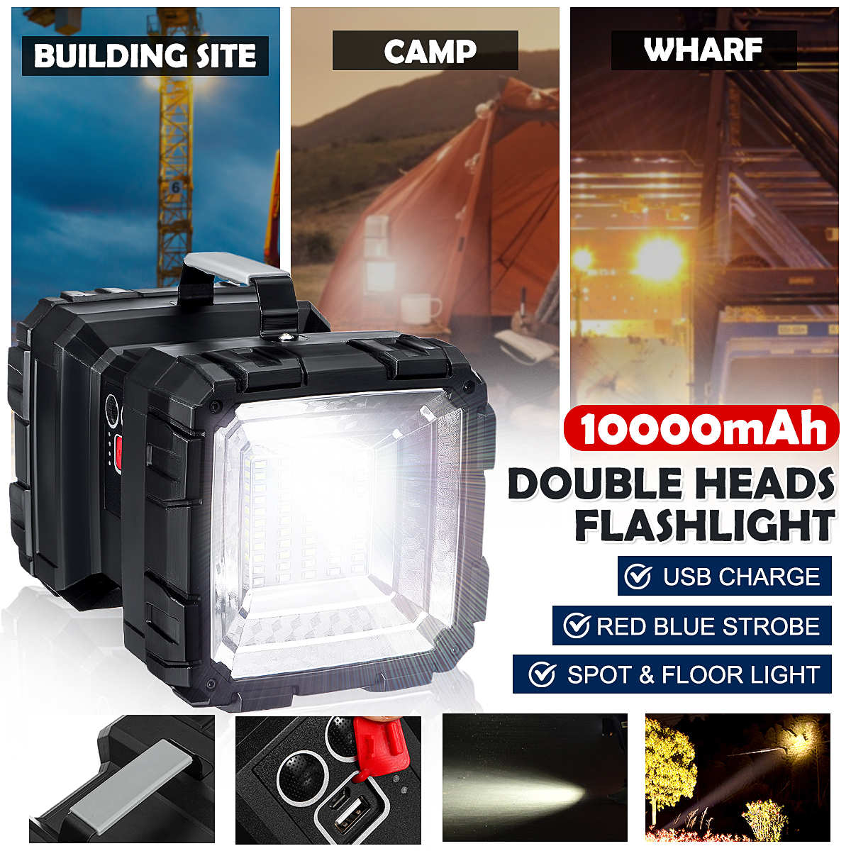 20000LM Super Bright Powerful USB LED Flashlight Searching Torches Night Light Lamp Hand Camping Lantern Rechargeable Battery