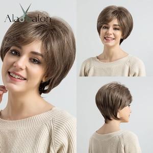 Image 4 - ALAN EATON krótki warstwowy czarny brązowy blond popiół szary peruki dla kobiet proste srebrne peruki syntetyczne żaroodporne fryzura Pixie Lady