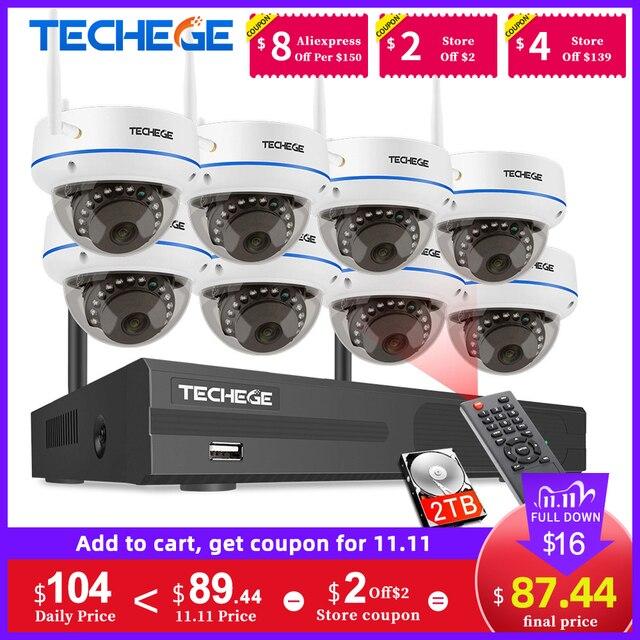 Techege 1080P אלחוטי אבטחת CCTV המצלמה מערכת 8CH WiFi NVR ערכת Vandalproof כיפת IP מצלמה מקורה P2P וידאו מעקב סט