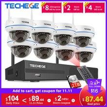 Комплект беспроводного Wi Fi видеорегистратора Techege, 1080P, 8 каналов, антивандальная купольная IP камера, комплект для домашнего видеонаблюдения P2P