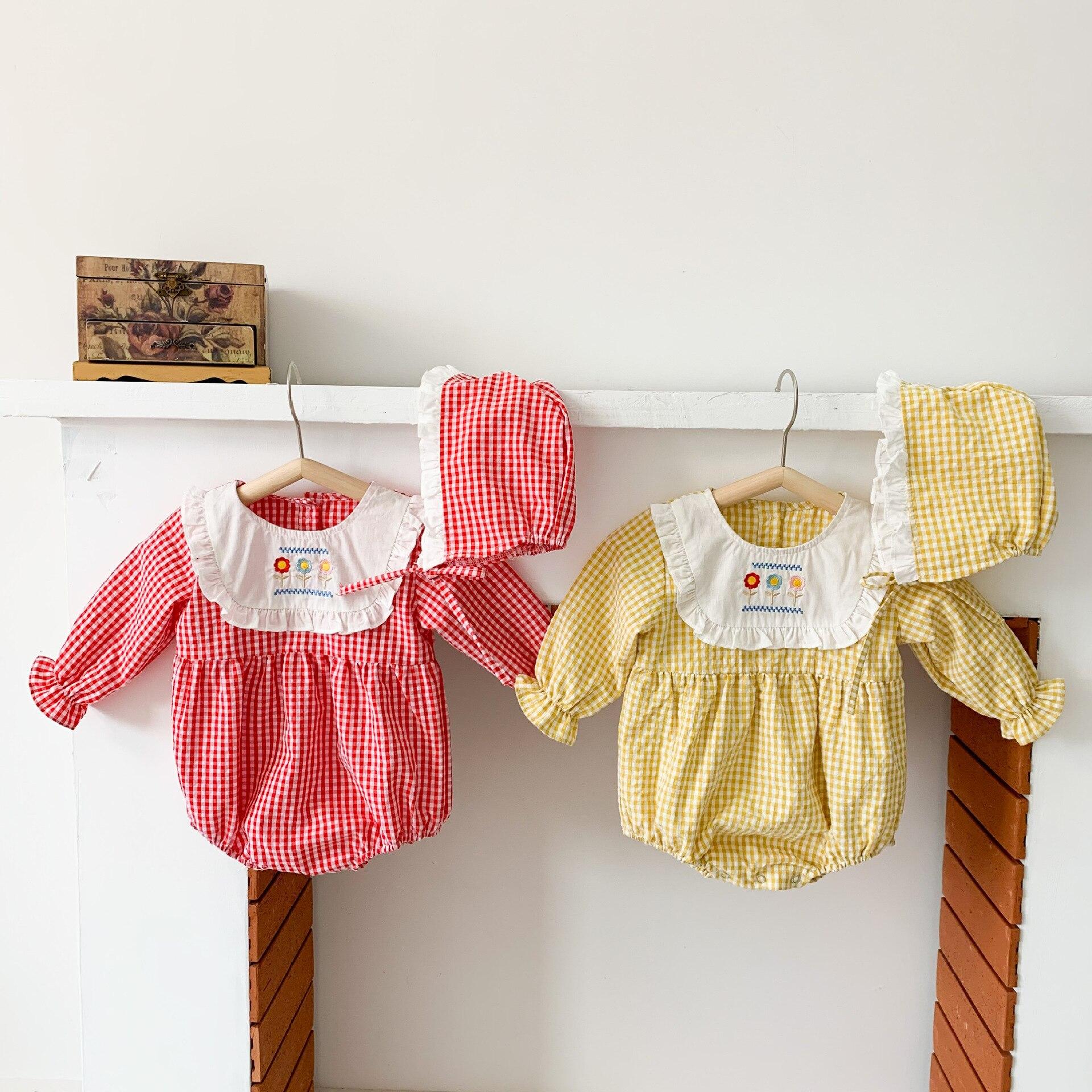 roupas de bebê xadrez macacões