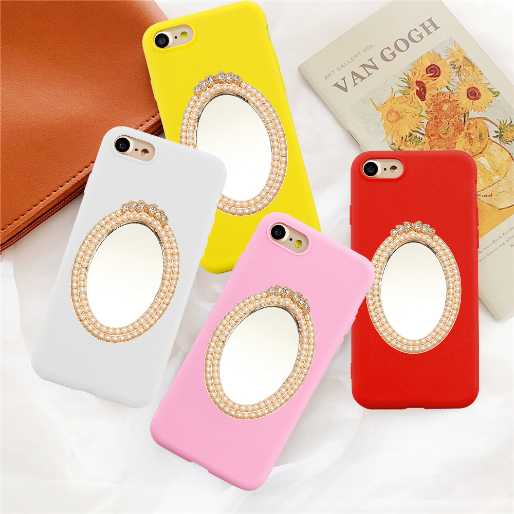 2020 fashion new soft Silicone candy phone case For <font><b>iPhone</b></font> 6 6S 7 8 X XS XR 11 Pro Max <font><b>3D</b></font> diamond pearl Mirror <font><b>funda</b></font> pink coque image