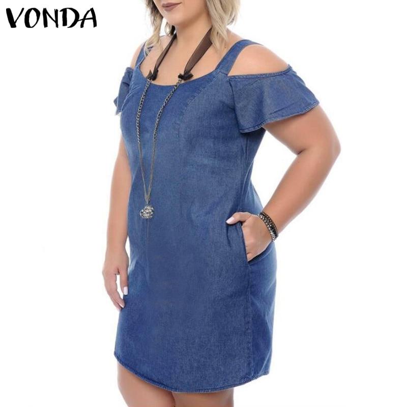 VONDA Plus Size Denim Dress Women 2019 Summer Denim Sundress Sexy Short Sleeve Off Shoulder Mini Dress Casual Ruffles Vestidos