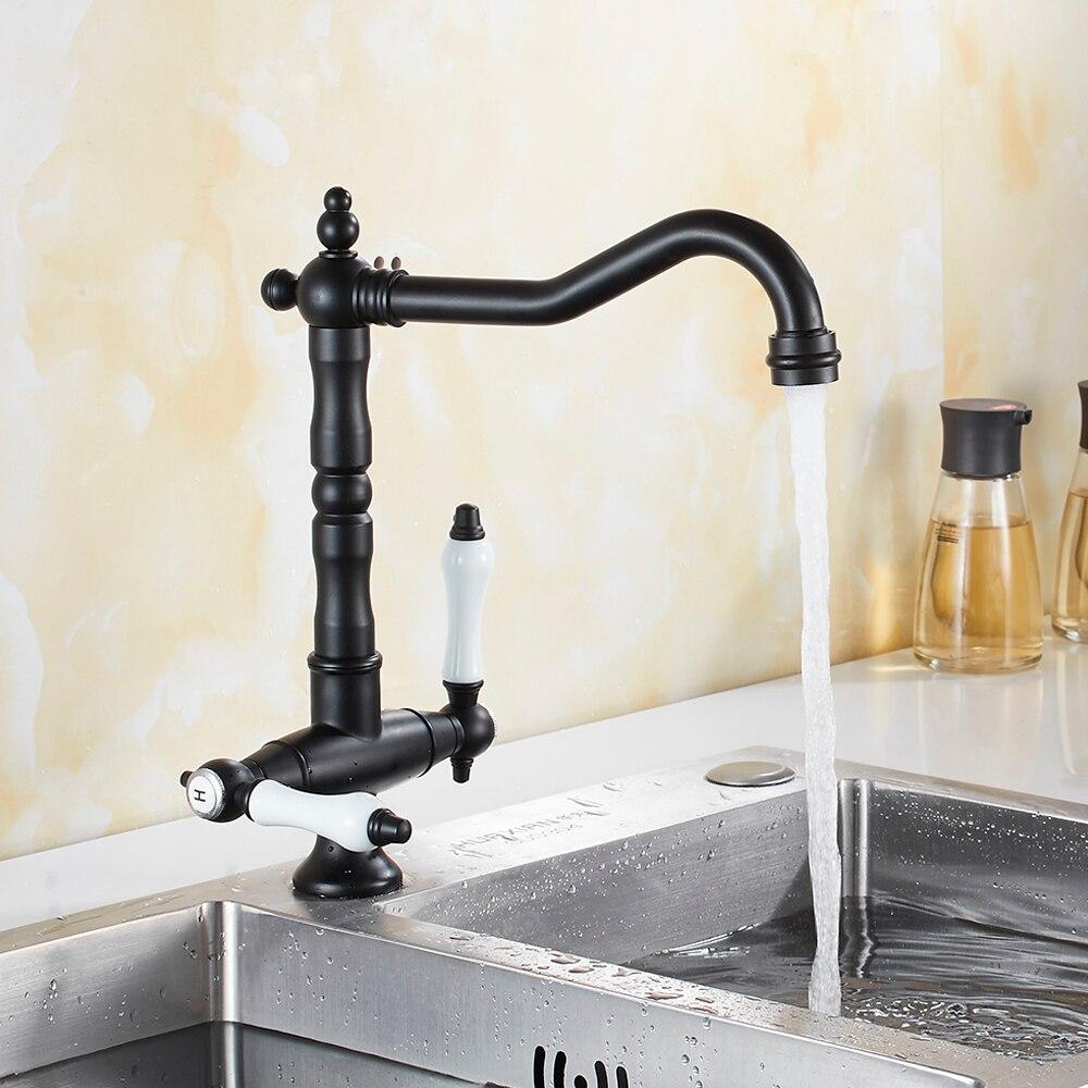 EVERSO robinets de cuisine en laiton Antique | Pivotant 360 robinet mitigeur à double poignée en porcelaine, robinets de cuisine mélangeurs froids et chauds