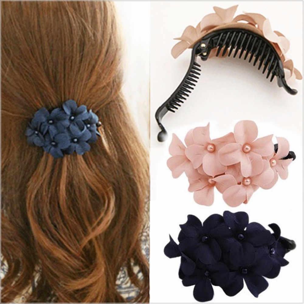 Fashion Girl Heart Banana Clips Rhinestone Hairpin Ponytail Clamp Hair Barrettes