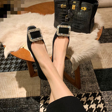 Flat-Sole-Shoes Square-Head Black Water Winter Diamond-Button Shallow Mouth New-Style