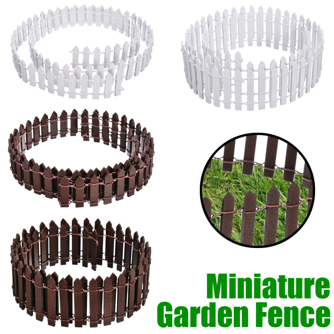 Miniature Wooden Fence  Decoration DIY Fairy Garden Miniature Doll House Decoration White/Coffee Color 100*5cm/3cm