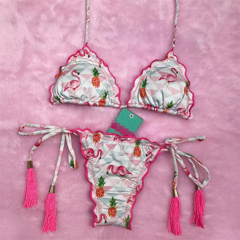 H48c55d0f024b4faea13cfc9112330b726 Sexy Halter Swimsuit Women Thong Micro Bikini Push Up 2019 Brazilian Bikini Tropical Plant Print Swimwear String Mini Swimsuit