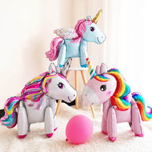 1pc foil balloons stand pink air ballon unicorn birthday party decorations kids commemorative baby show air balloons(China)