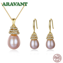 Wedding Jewelry Set Christmas Trees Pearl Pendant Necklace Drop Earring 925 Silver Jewelry For Women