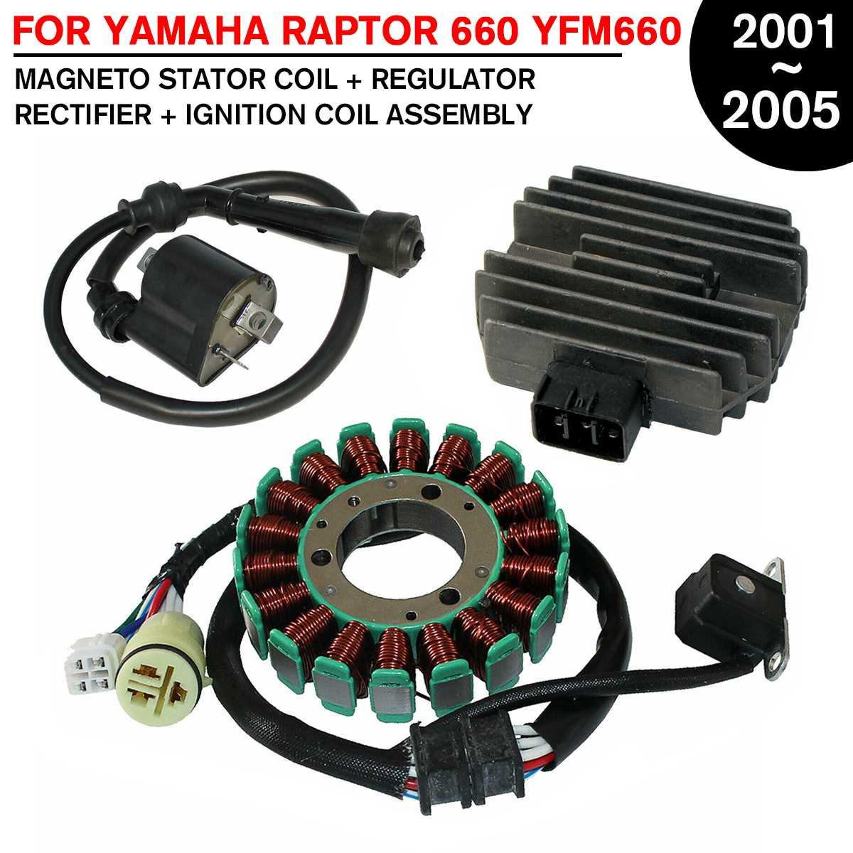 Магнитный статор мотоцикла Генератор + РЕГУЛЯТОР выпрямитель + Катушка зажигания для Yamaha ATV для RAPTOR 660 YFM660 2001 2005