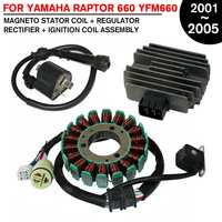 Motorcycle Magneto Stator Generator Alternator +Regulator Rectifier+Ignition Coil For YAMAHA ATV For RAPTOR 660 YFM660 2001 2005