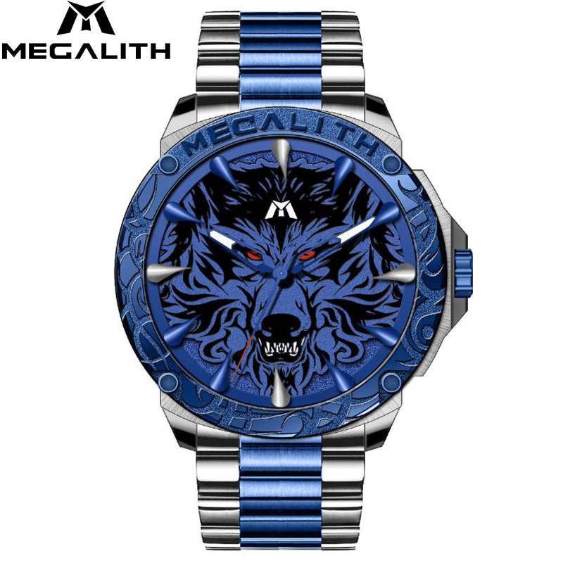 Relogio Masculino 2019 MEGALITH Sport Embossed Wolf Head Quartz Watch Waterproof Stainless Steel Luxury Wrist Watches Men Clock