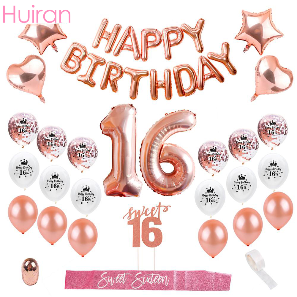 Rose Gold Happy Birthday Party Decor Kids Adult 16th Birthday Balloons Sixteen Sweet 16 Party Decor 16 Birthday Party Favors
