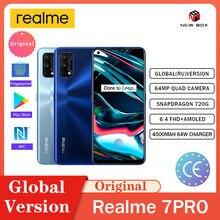Realme 7 Pro 8G 128GB ładowania Super pełny ekran 4500mAh 65W 64MP Quad aparat wyświetlacz HD الاتف الخلوي Teléfono móvil телефон