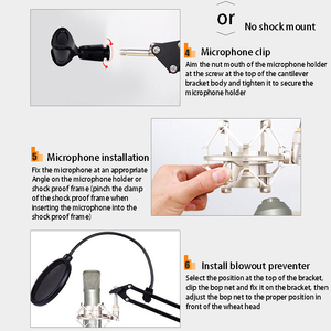 Image 5 - Extendable Mic Stand Foldable Microphone Stand Arm Stand And Table Mounting Hanging   Tool Clamp Fastener Microphone Holder Kit