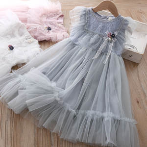 Mesh Dress Lace-Edge New-Products Summer Girls Princess Kids Children Fly