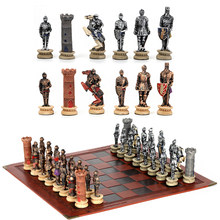 Chess Set Middle Ages Knight Battle Theme Chess Setportable Traveling Intelligence Game Chess Set Luxury Themed Chess Checkers
