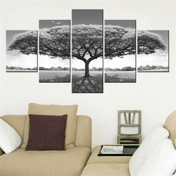 5 Pieces Panel Modern Canvas tree Painting Wall Art The Picture For Home Decoration print Giclee Artwork For Wall Decor