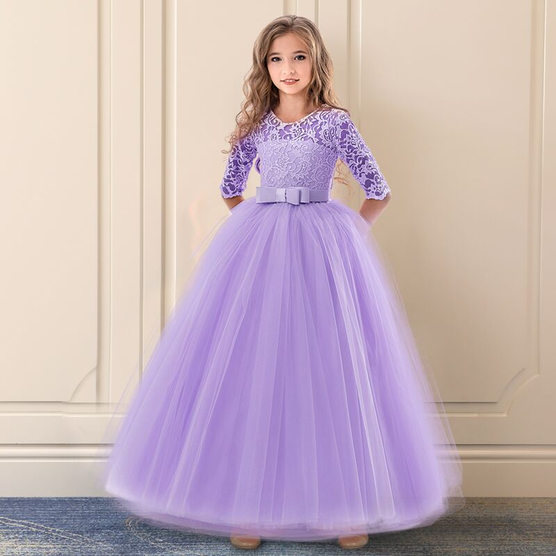 Girls Ceremony Dress for Wedding and Party Gown Exquisite Communion Luxury Princess Dress Elegant Lace Girls New Year Costume 4