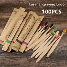 50 / 100 pièces Personnalisé Gravure Laser Logo Brosses À Dents En Bambou Écologique Portative En Bois Brosse À Dents pour Adultes Enfants