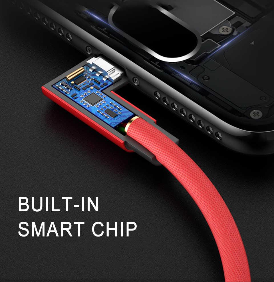 Câble Micro de téléphone portable de charge rapide d'usb câbles de données de 90 degrés avec l'armure en Nylon pour le fil de Samsung d'android Xiaomi Note 8 Pro
