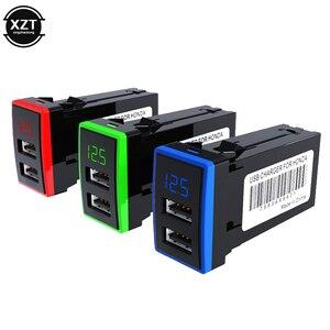 Image 1 - 12V Dual USB Car Charger QC3.0 LED Voltmeter Power Adapter With Digital Voltage Display For HONDA