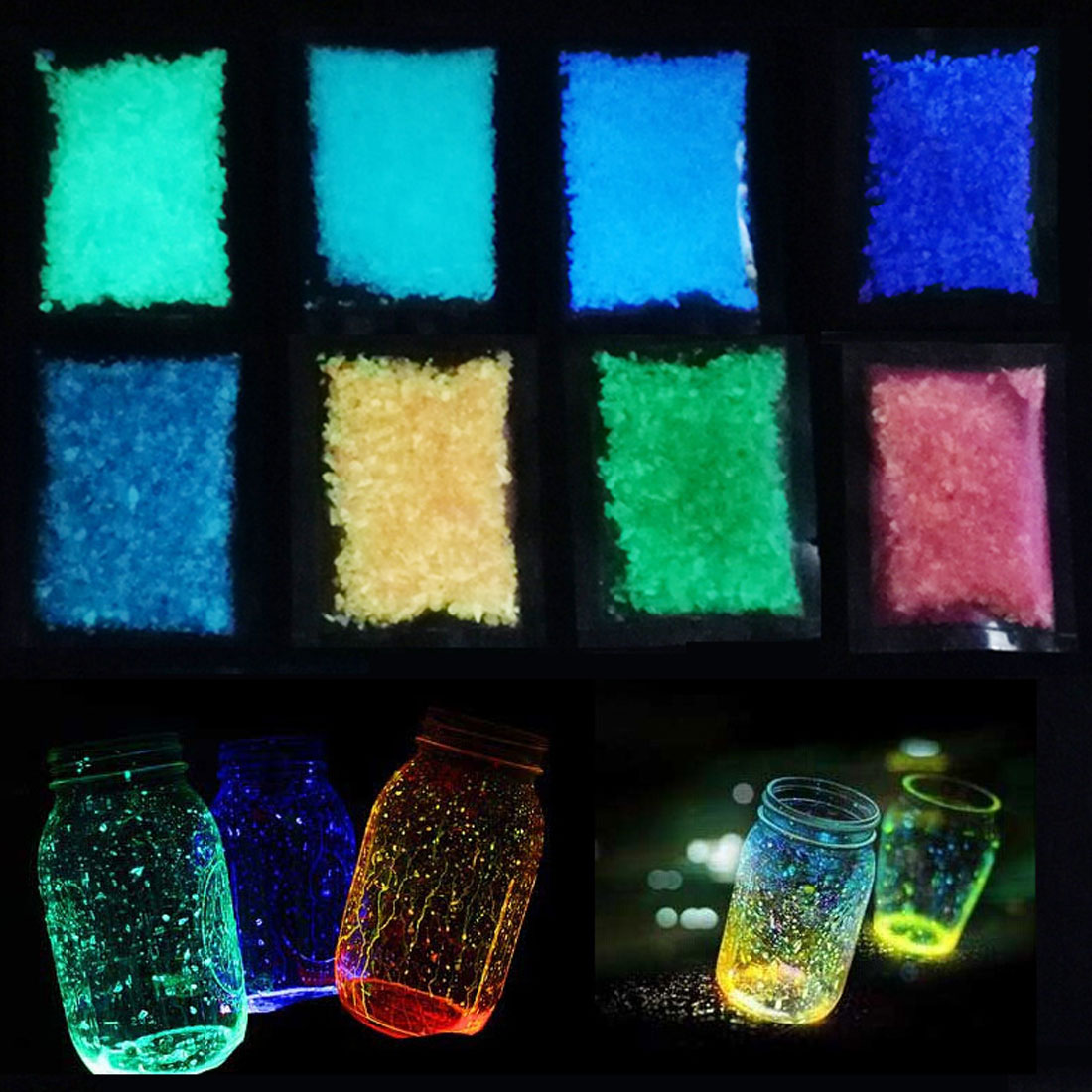 10g Party DIY Fluorescent Super luminous Particles Glow Pigment Bright Gravel Noctilucent Sand Glowing in the Dark Sand Powder