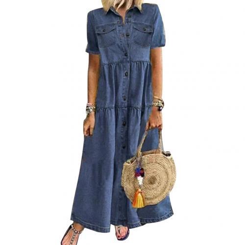 Plus Size 3xl Women Summer Denim Dress Retro Women Short Sleeve Turn Down Collar Pockets Button Long Loose Denim Dress 8