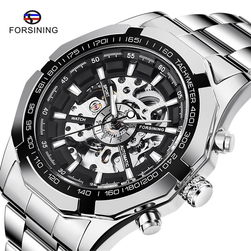 Watch for Men Skeleton Automatic Mechanical Watch Silver Skeleton Vintage Man Watch Mens FORSINING Watches Top Brand Luxury