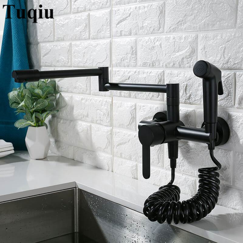 Kitchen Sink Faucets Solid Brass Sink Mixer Tap Hot & Cold Wall Mounted With Spray Gun Rotating Foldable High end Quality-in Kitchen Faucets from Home Improvement    2