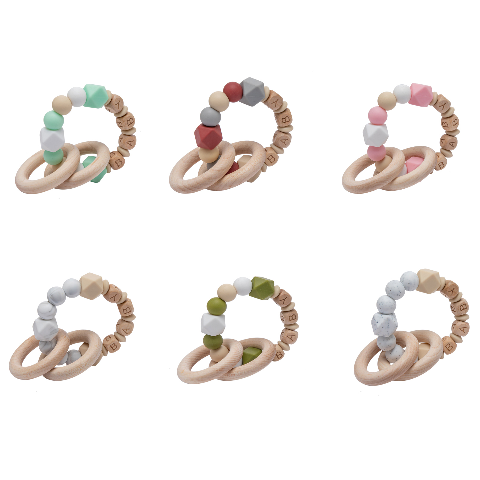 Ins Style Baby Teether Bracelets Food Grade Silicone Beads Bracelet Ring Baby Care Products Infant Toy Gift for 0-12 months