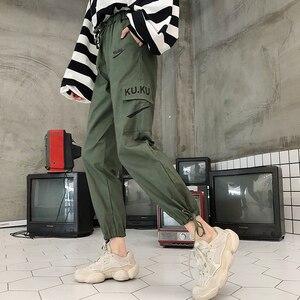 Image 5 - パンツ女性高品質貨物足首までの長ズボンソフト原宿韓国スタイルレディーストレンディソリッドポケットカジュアルすべてマッチ新しい