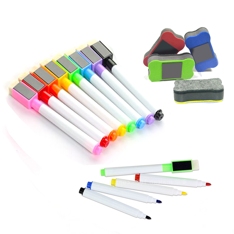 8colors Erasable Magnetic White Board Art Marker Pen Whiteboard Marker Liquid Chalk Glass Ceramics School Art Marker Colorful