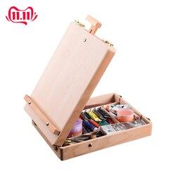 Caballete de madera para pintar caballete de dibujo caja de mesa pintura al óleo Accesorios para ordenador portátil suministros de arte para artista niños
