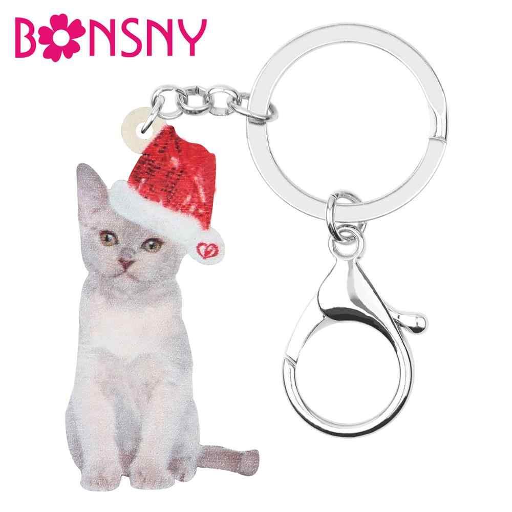 Bonsny akrylowe boże narodzenie kot birmański breloczki breloki torba samochodów kiesy zwierząt breloki, biżuteria, kobiety, dziewczyny, mężczyzn dekoracji prezent