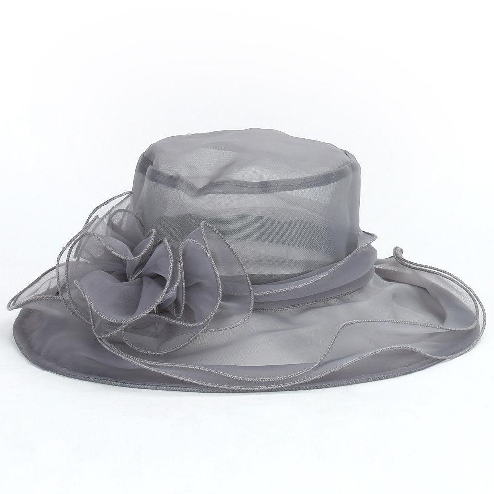 Summer Women's Hat Female Elegant Lace Wide Brim Kentucky Derby Sun Hat Wedding Tea Party Church Cap Ladies Fedoras Hat