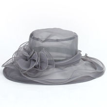 Summer Women's Hat Female Elegant Lace Wide Brim Kentucky Derby Sun Hat Wedding Tea Party Church Cap