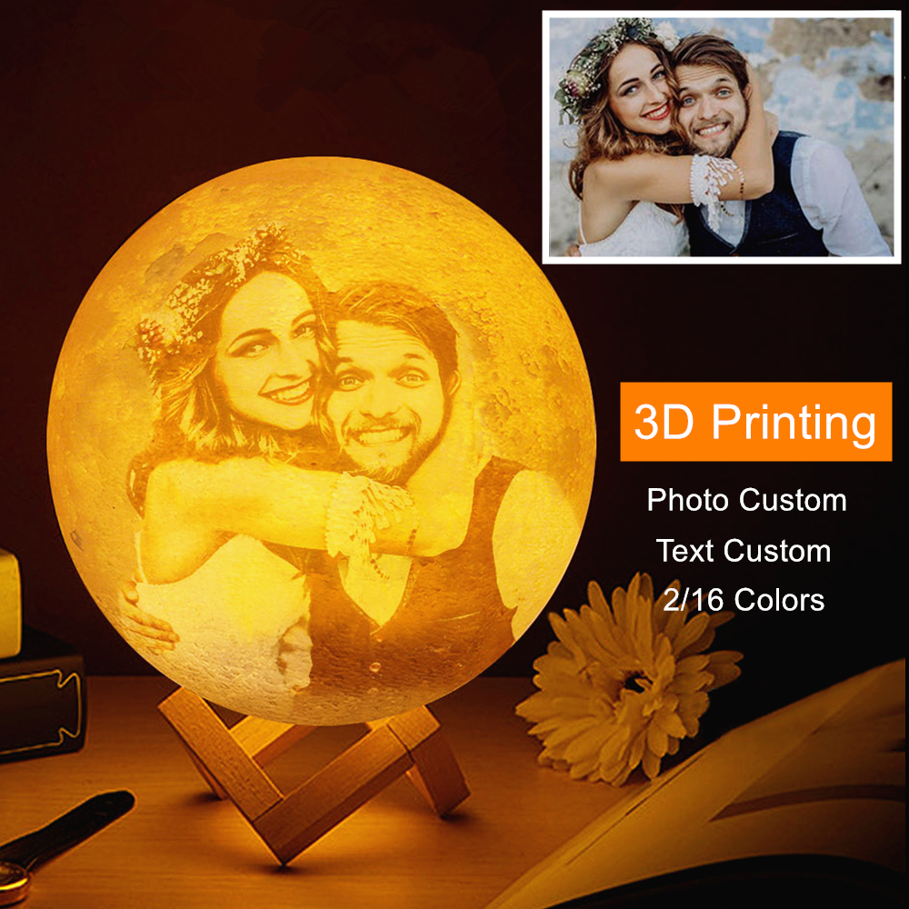 Photo/Text Custom 3D Printing Moon Lamp Nightlight Customized Personality Lunar USB Charging Night Lamp with Wooden Holder-in LED Night Lights from Lights & Lighting