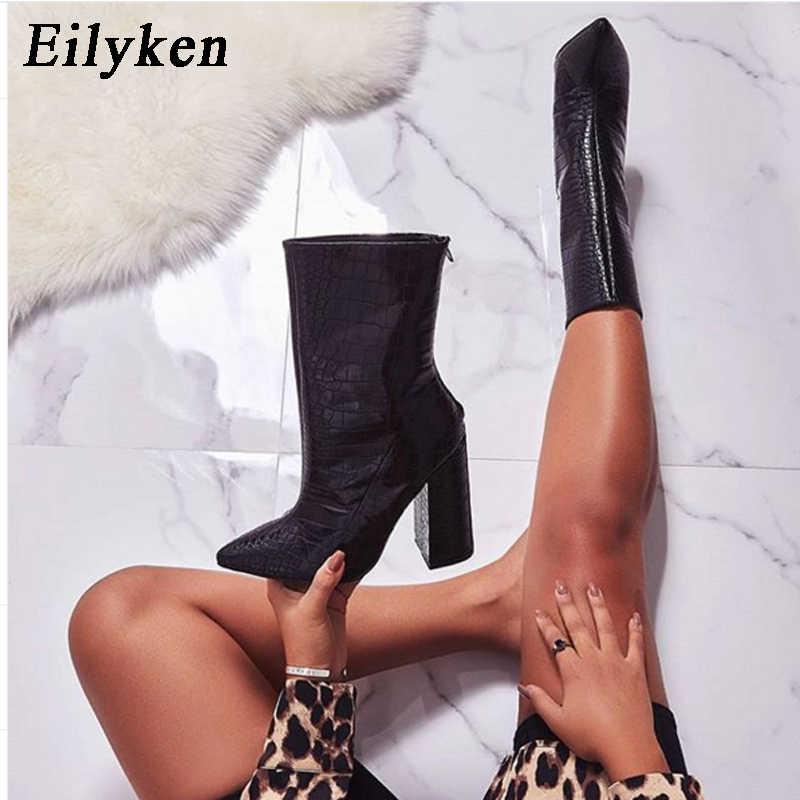 Eilyken 2020 Winter Nieuwe Fashion Snake Grain Vrouw Enkellaarsjes Puntschoen Rits Vierkante Hoge Hakken Dames Chelsea Party Laarzen