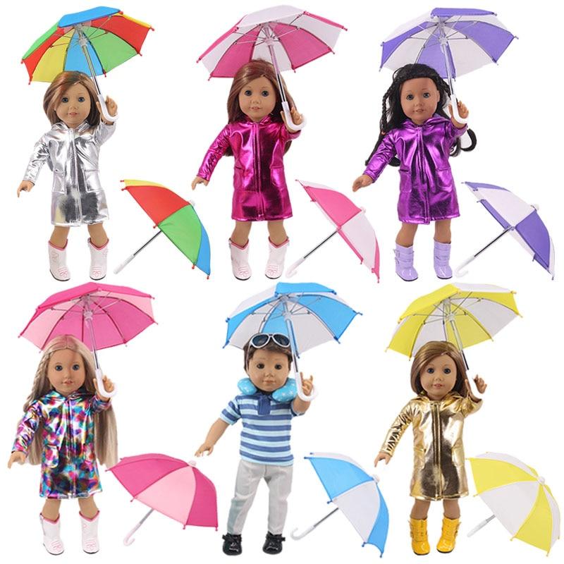 Doll Umbrella Accessories Rainbow Colors Mini Umbrella Fit 18 Inch American Doll & 43 Cm Baby New Born Doll Girl`s Birthday Toy(China)