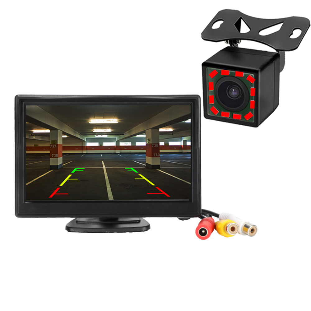 Car Rear View Camera Reversing Parking System Kit 5inch inch TFT LCD Rearview Backup Monitor Waterproof Night Vision forFord Toyota