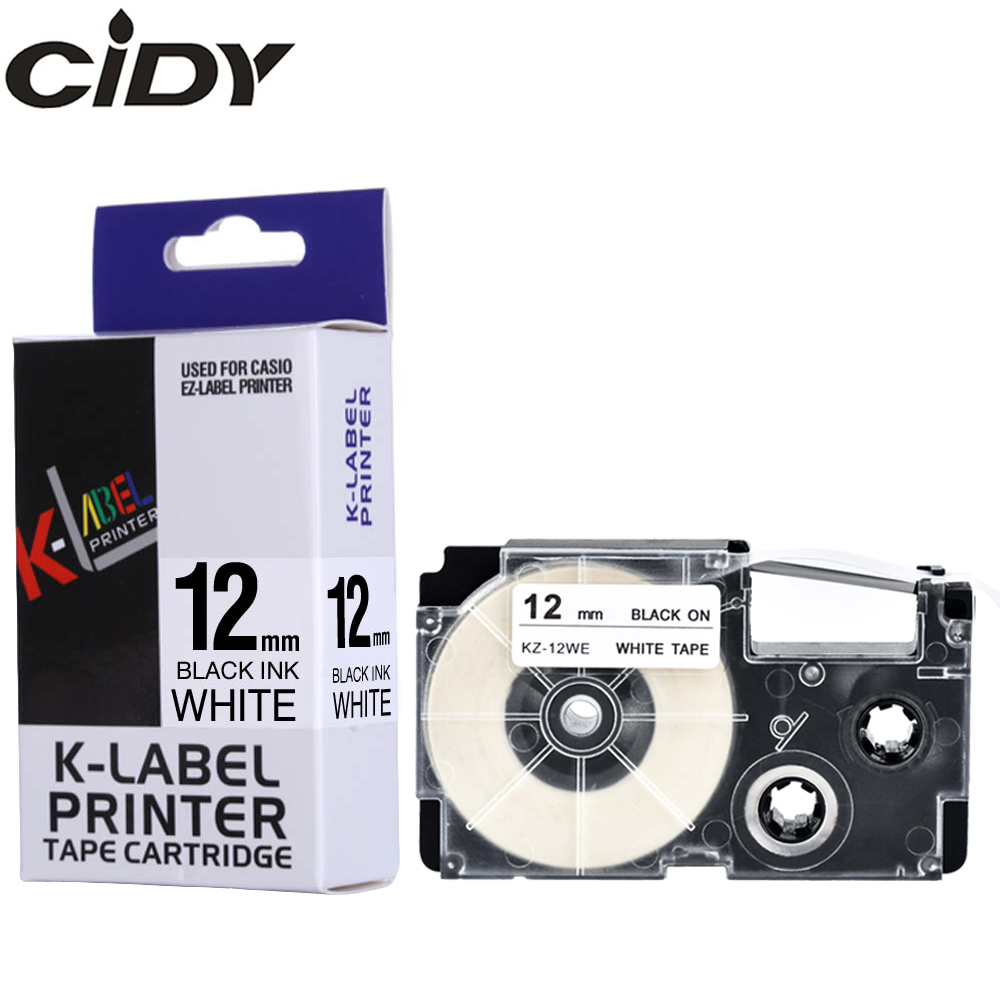 CIDY 1pcs XR-12WE Compatible Black On White 12mm Casio Label Tape XR12WE XR 12WE For EZ Printers KL-60-L KL-60SR KL-170 KL-100