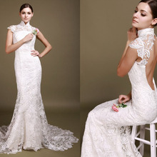 2018 New Arrival Vestido De Festa Long Elegant Sexy Backless Venice Lace Unique Mermaid bridal gown