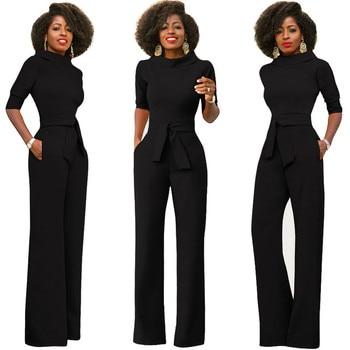 Elegant Office Work Wear Business Formal Jumpsuits 2018 Women Half Sleeve Pockets Wide Leg Pants Romper Fashion Overalls Sashes 2