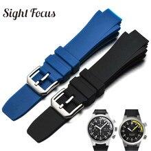Pulseira de relógio 26x16mm, pulseira de substituição para iwc aquatimer, pulseira para homens, preta, silicone fivela masculina