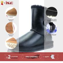 INOE Classic Women Waterproof Winter Boots with Button Sheepskin Leather Australian Wool Fur Lined Snow Boots Non-slip Sole(China)