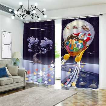 3D Curtain for the living room Curtains for bedroom Luxury home Modern Curtains Sky Santa Claus gift is beautiful